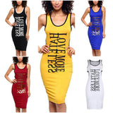 """Love More Hate Less"" Word Printed Open Back Dress"