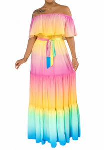 Gradient Ombre Multicolored Off Shoulder Tiered Maxi Dress