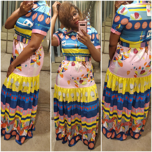 Abstract Print Tiered Maxi Dress