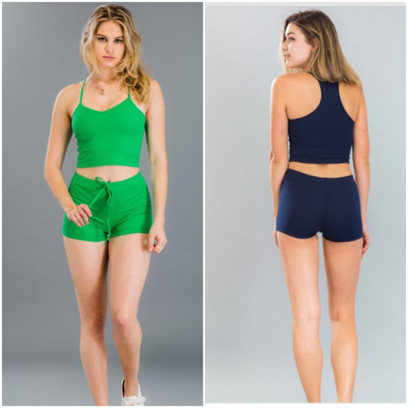 Ribbed Cropped Top & Shorts Set - S&E Retail Expo