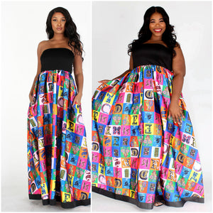 Black & Multicolor Multiprint Tube Dress