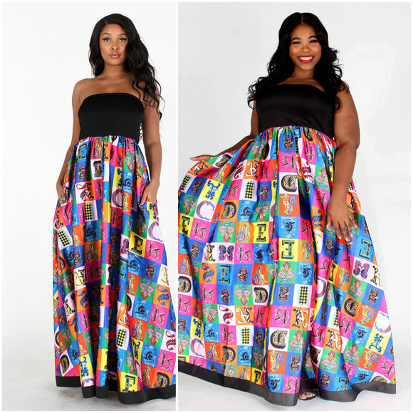 Black & Multicolor Multiprint Tube Maxi  Dress - S&E Retail Expo