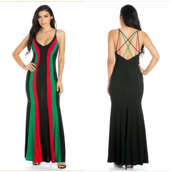 Pan-African Colored Striped Maxi Dress