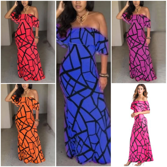 Wired Geometric Off Shoulder Maxi Dress (5 Colors)