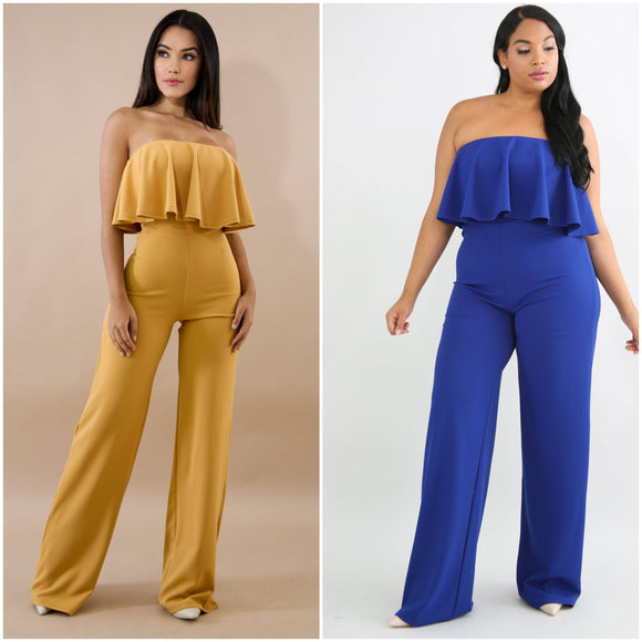 Tube Ruffled Back Zippered Jumpsuit
