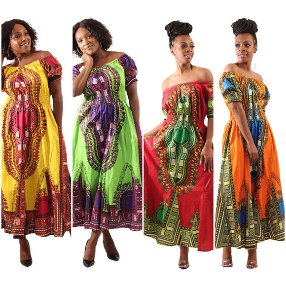 Traditional Print African Tribal Dashiki Royalty Maxi Dress