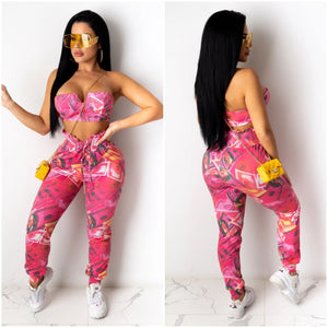 """Money Money Money"" USA $100 Bill Pink Cropped Top & Pants Set - S&E Retail Expo"