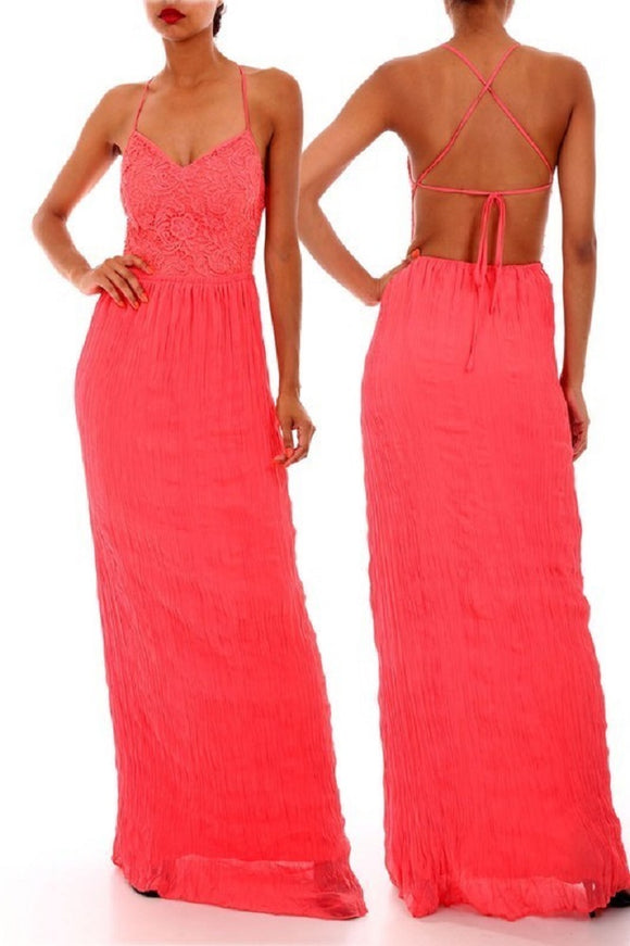 Coral Criss-Cross Back Maxi Dress