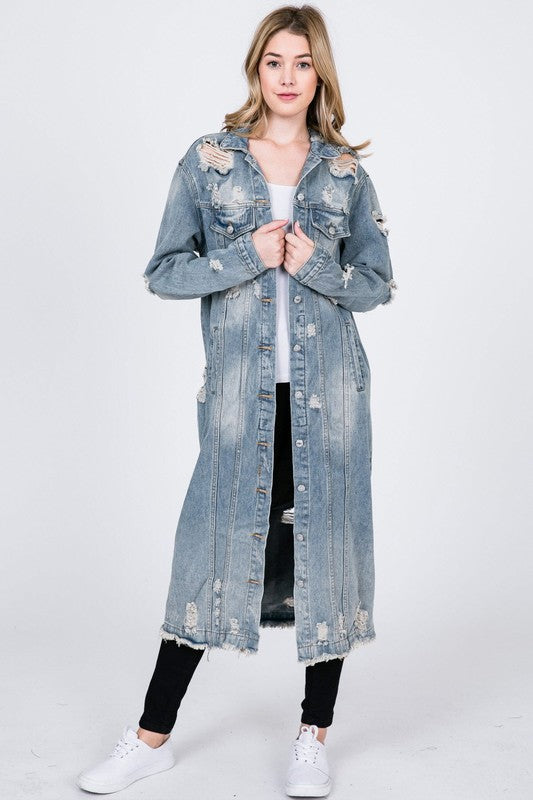 Distressed Denim Maxi Jacket (Pre-Order)