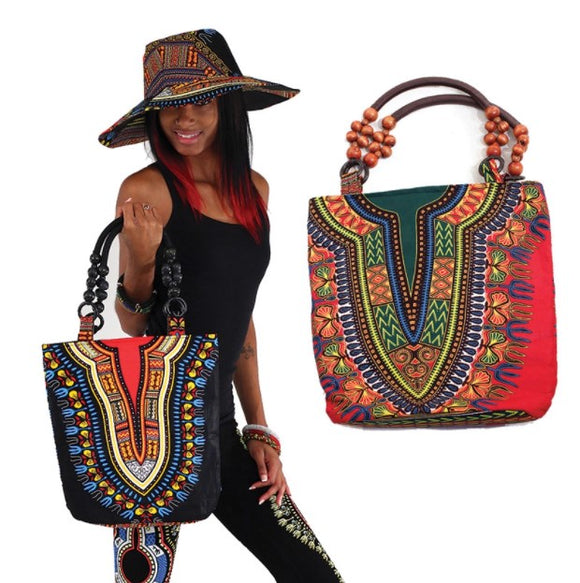 Traditional African Print Beaded Tote Bag