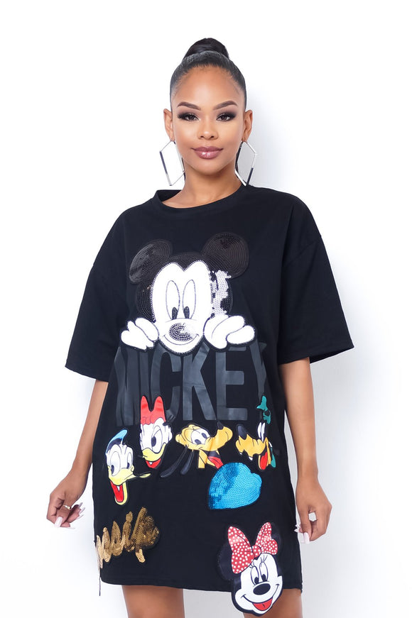 Mickey Mouse Cartoon Graphic Crew T-Shirt Dress