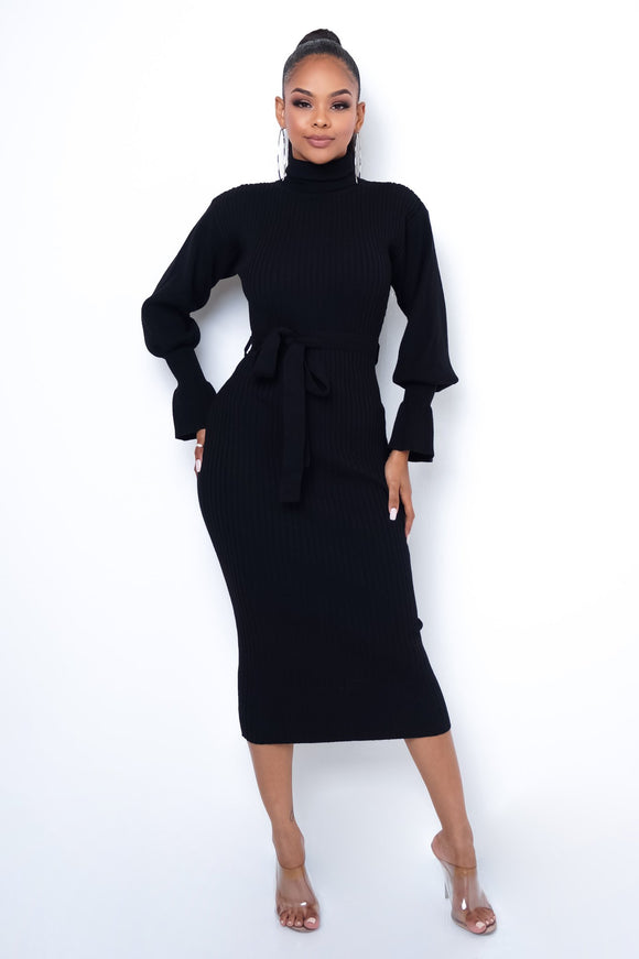Black Smocked Neck Midi Dress - S&E Retail Expo