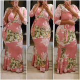 Pink Floral Blossom 3/4 Sleeve Maxi Dress - S&E Retail Expo