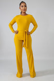 Mustard Knitted Long Sleeve Top & Palazzo Set - S&E Retail Expo