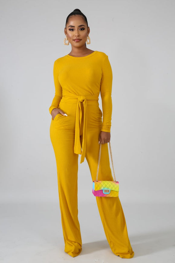 Mustard Knitted Long Sleeve Top & Palazzo Set