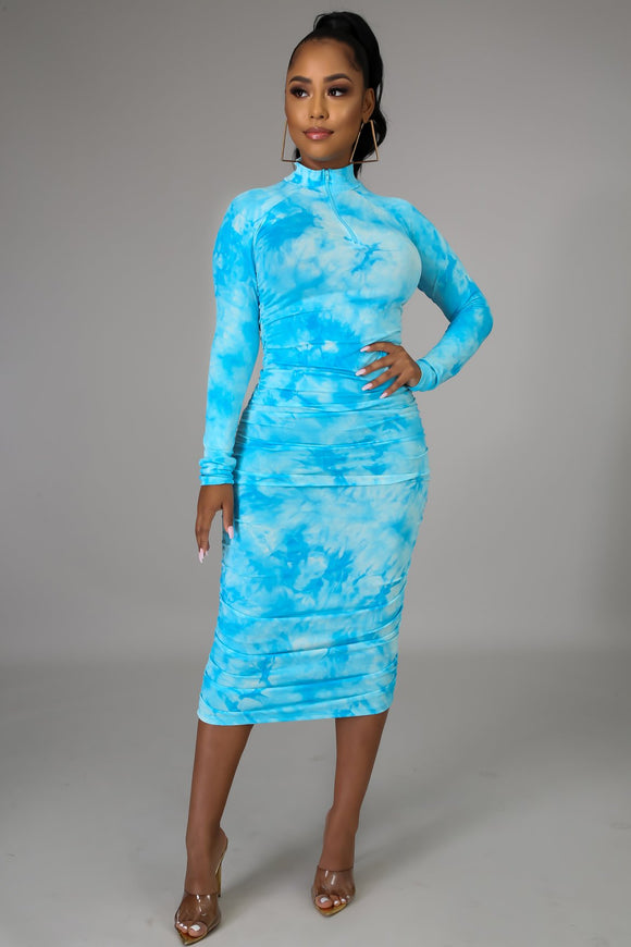 (20% Off Promo)Turquoise Mock Neck Ruched Tie Dye Midi Dress - S&E Retail Expo