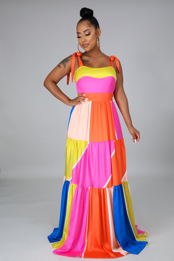 Multicolored Patched Ribbon Tied Maxi Dress