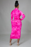 Fuchsia Mock Neck Ruched Tie Dye Midi Dress