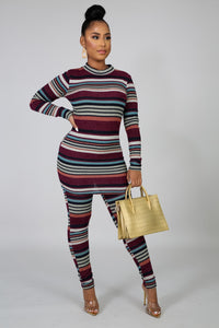 Striped Up High Waist Pants & Top Set - S&E Retail Expo