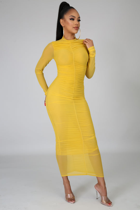 Ruched Up Bodycon Midi Mustard Dress