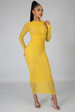 Ruched Up Bodycon Midi Mustard Dress - S&E Retail Expo