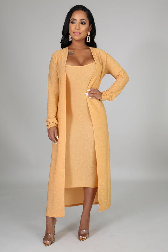 Gold Midi Dress & Cardigan Set