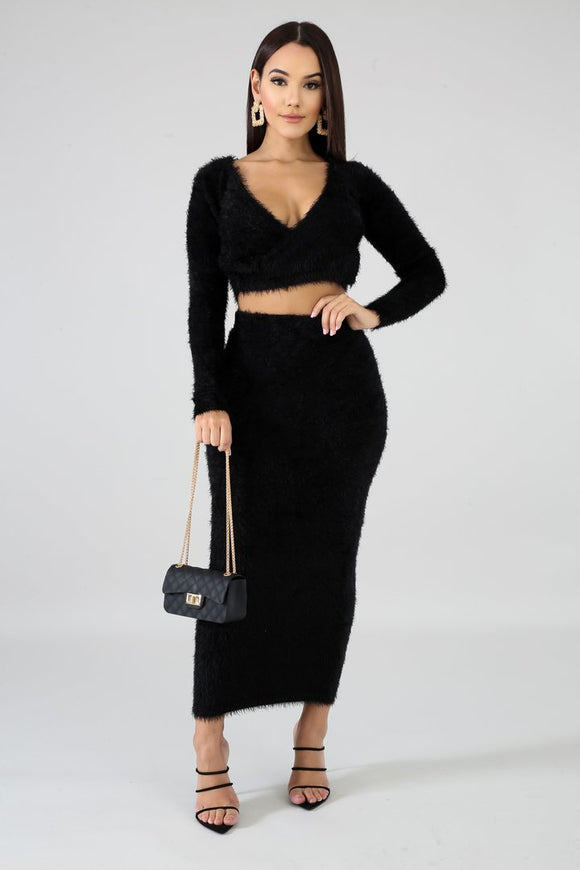 Fuzzy Wuzzy Cozy Midi Skirt & Cropped Long Sleeve Set - S&E Retail Expo