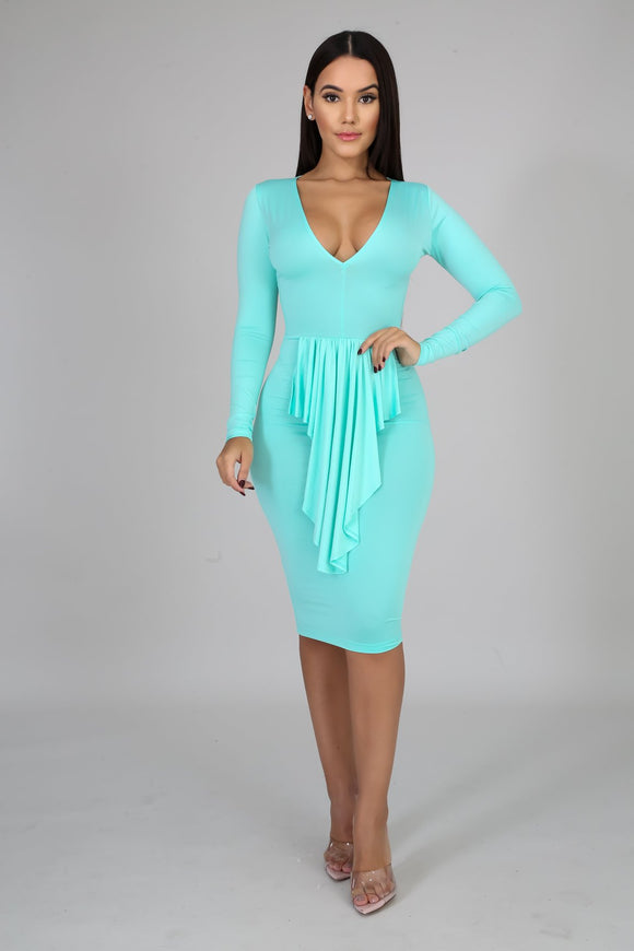 Mint Cascading Front Bodycon Dress