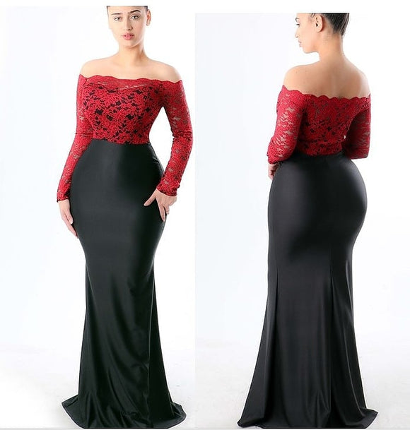 Red & Black Laced Top Bodycon Maxi Dress - S&E Retail Expo