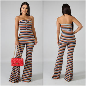Tube Striped Palazzo Pants Set