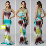 Tie Dye Open Back Mermaid Maxi Dress