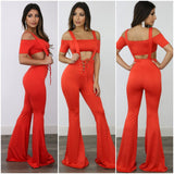 Tangerine Suspender Jumpsuit & Cropped Top - S&E Retail Expo