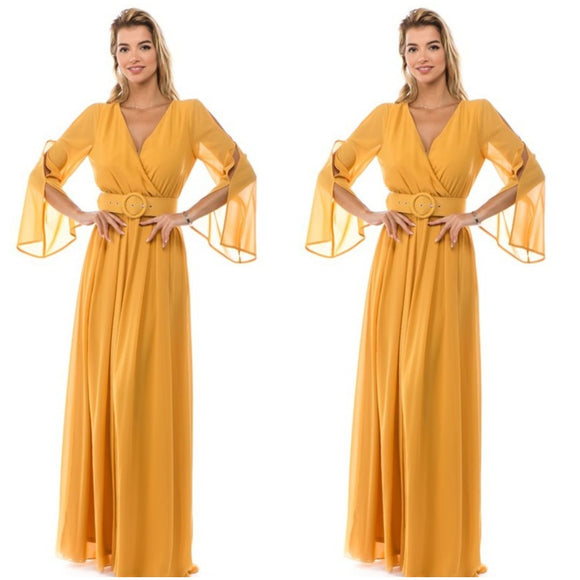 Mustard Belted Flow Maxi Dress