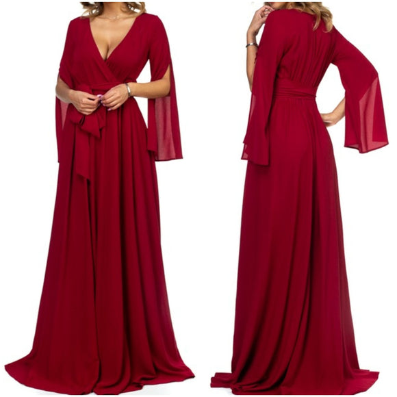 Burgundy Flow Maxi Dress