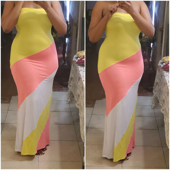 Yellow, White, & Pink Tube Maxi Dress
