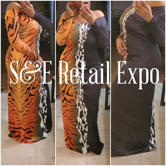 Multi Animal Printed Off Shoulder Maxi Dress