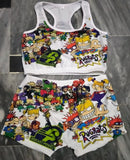 Rugrats Theme Printed Sleepwear Snack Candy Booty Shorts & Tube Top Set