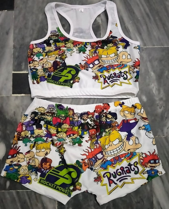 Rugrats Theme Printed Sleepwear Snack Candy Booty Shorts & Tube Top Set - S&E Retail Expo