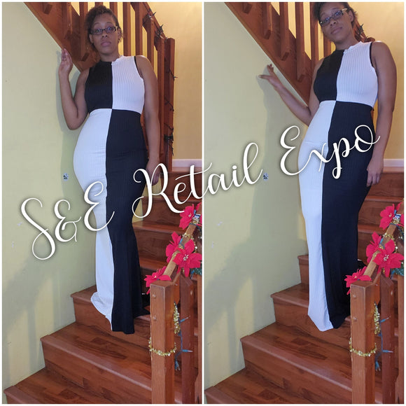 Black & White Contrast Color Block Maxi Dress - S&E Retail Expo