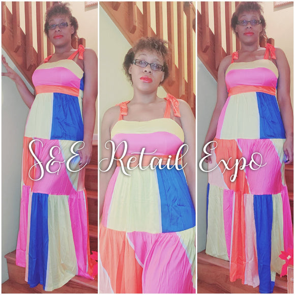 Multicolored Patched Ribbon Tied Maxi Dress - S&E Retail Expo