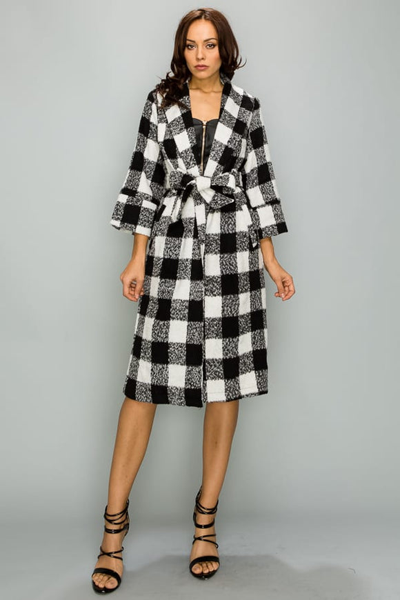 Black & White Checkerboard Coat