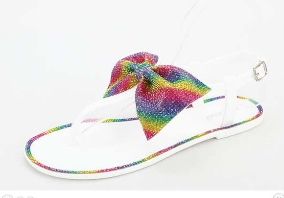 Rainbow Bowtie Sandals