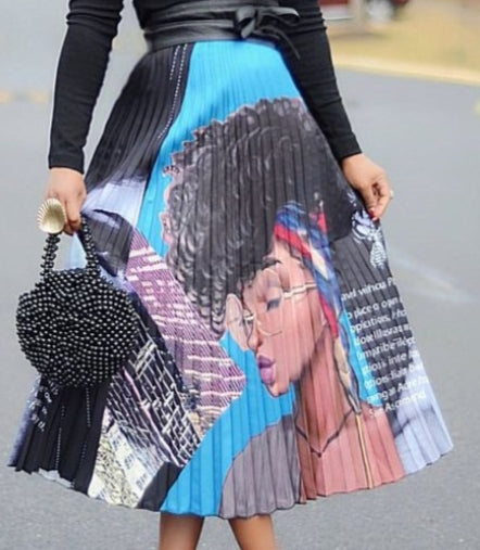 Black Woman Face Print Pleated Skirt