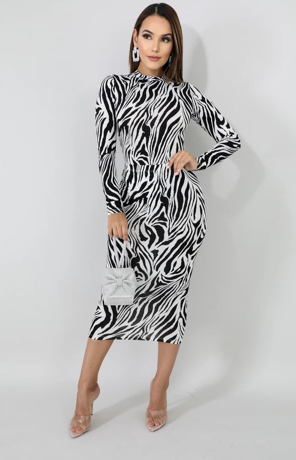 Zebra Print Bodysuit & Midi Skirt Set