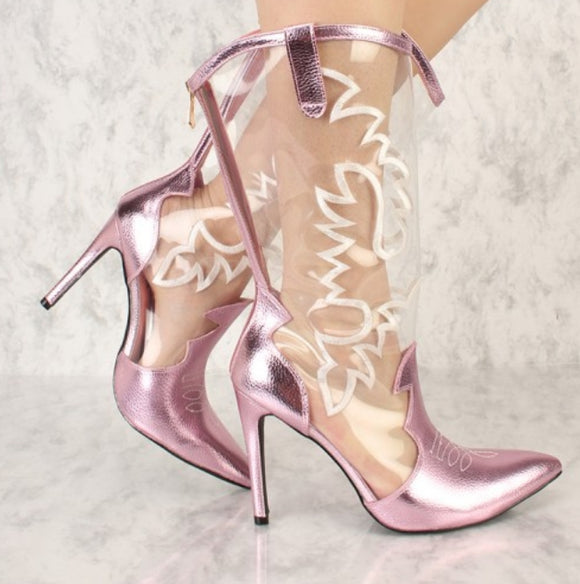 Pink Toe Heeled Boot