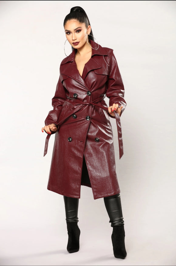 Burgundy Faux Leather Trench Coat