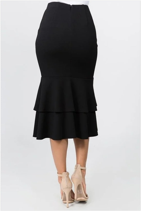 Black Tiered Ruffled Mermaid Midi Skirt - S&E Retail Expo