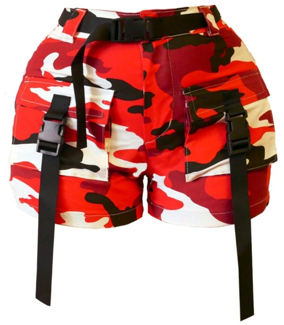 Buckle Up Red Camo Print Cargo Shorts