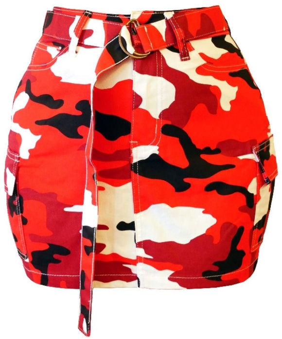 Belted Red Camo Print Cargo Mini Skirt