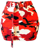 Juniors Belted Red Camo Print Cargo Mini Skirt - S&E Retail Expo